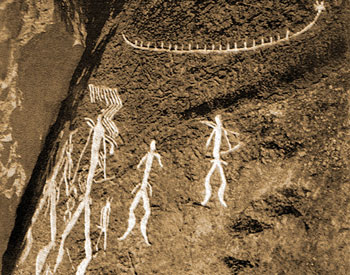 Gobustan: Petroglyphs of men and boat on Boyukdash mountain