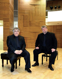 Dmitry with Farhad Badalbeyli in Israel after a concert in March 2010
