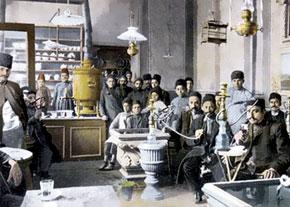 In a chaikhana (tea house). Early 20th century