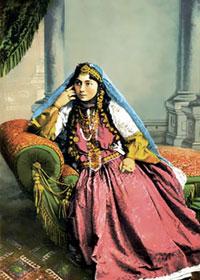 Baku Beauty in a photo studio. Late 19th century