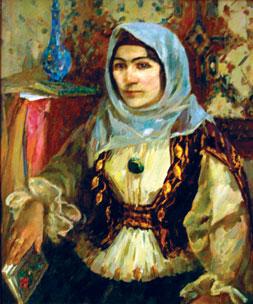 Portrait of Khurshid Banu Natavan, oil on canvas by Oqtay Sadiqzade 1970, Nizami Ganjavi museum of Azerbaijani Literature