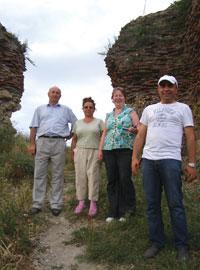 From left: Dr Qafar Jebiyev, Elmira, Fiona Maclachlan and driver Mahir at the city gates