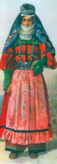 Turkic woman of the Qarapapaqs tribe, painting by Tilke, 1910
