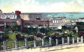 Baku, city garden and harbour, 1899