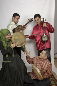 Alim Qasimov and his daughter Fargana, with tar and kamancha accompanists