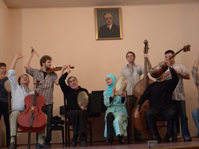 Cellist Yo Yo Ma, Alim Qasimov and Fargana perform with the Silk Road ensemble in Baku's Philharmoni, May, 2006