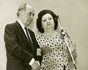 Tofiq Quliyev with one of the best performers of his songs Shovket Alekberova, USSR Public Artist
