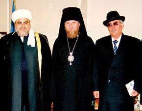 Left to right: Sheykh-ul-Islam Haji Allahshukur Pashazadeh, Alexander, Bishop of Baku and the Caspian Eparchy, Semyon Ikhiilov, headf of the Religious Community of the Mountain Jews in Azerbaijan