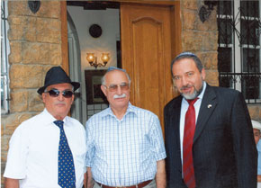 Left to right: Semyon Ikhiilov, Major-General Davud Ashurov and Avigdor Liberman, Deputy Prime Minister of Israel