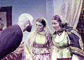 """A scene from """"O olmasin, bu olsun"""" (""""If not this one, that one!"""") (1956) (""""Mashadi Ibad"""" – Aliaga Agayev, """"Gulnaz"""" – Tamara Gozalova, """"Sanam"""" – Barat Shekinskaya)"""