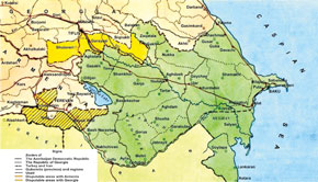 Map of the Azerbaijan Democratic Republic.Draw up by the Information Department of the Ministry of Foreign Affairs in 1920