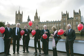 Preparing to release balloons bearing Khojaly victims' names (from left) Ambassador Gurbanov; Lord Laird; Edward Lord JP; Tale Heydarov, Chairman, The European Azerbaijan Society; Lord Kilclooney; and Lady Miloska Nott