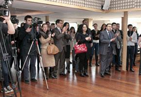 The international media had a considerable presence