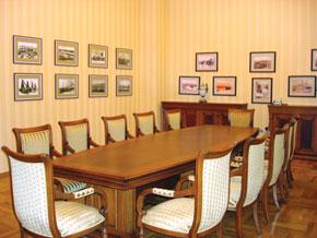 The meeting room inside the restored Villa Petrolea