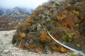 A suspended bridge over the river in Lahij, Ismailli District