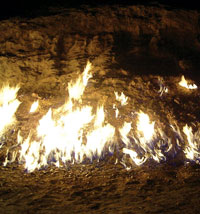 Burning Mountain in the village of Mahammadi, Baku. Natural gas escaping from the ground burns constantly