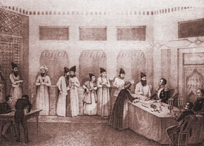 Signing the Turkmenchay Treaty, 10 February 1828. Lithograph from Moshkov's picture