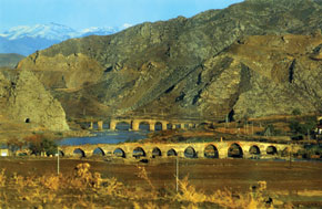 The Khudafarin bridge on the Araz River, connecting North and South Azerbaijan