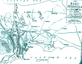 Map of Baku Defences August - September 1918