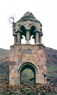The general view of the Khamshivank monastery complex, X-XIII centuries, Beyuk Kara Murad village, Gederbek district