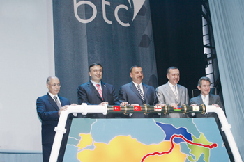 Official inauguration of the BTC pipeline. From the left:Ahmet Necdat Sezar (President of Turkey), Mikhail Saakashvili (President of Georgia), Ilham Aliyev (President of Azerbaijan), Recab Tayip Erdogan (Prime Minster of Turkey), John Browne (BP Group CEO)