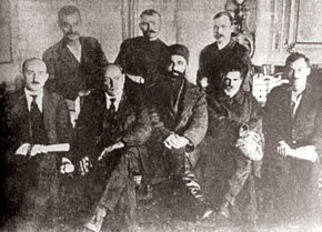 The first Central Executive Committee of the Azerbaijan SSR. From the left seated: T. Shahbazi, N. Narimanov, M. Hajiyev, C, Adgozalov; Standing: C. Fatalizade, V. Krilov, A. Andreyev (1921)