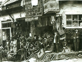A shop in Tiflis selling Karabakh carpets. From here they were taken to Europe and Russia. 19th century