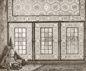 Stained-glass window (or shabaka) in Shush home, from V.V.Vereshchagin´s painting Hall in Shusha, 1865