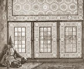 Stained-glass window (or shabaka) in Shush home, from V.V.Vereshchagin´s painting Hall in Shusha, 1865