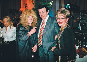 Muslum Maqomayev with Russian singer Alla Pugacheva and TV presenter Angelina Vovk at his 65th birthday party in Moscow in 2007