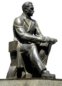 Statue of Mirza Fatali Akhundov in Baku. Completed in 1930 by sculptor Pinkhos Sabsay.