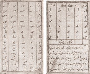 A manuscript showing one alphabet proposed by Akhundov.