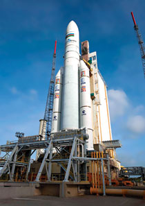 Azerspace / Africasat 1a on the launchpad. Photo: ESA / CNES / Arianespace / Optique