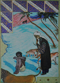 Illustration to Fuzuli's poem Leyli and Majnun
