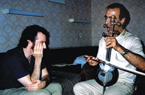 Studing Kamancha with Habil Aliyev, Baku, June 1989