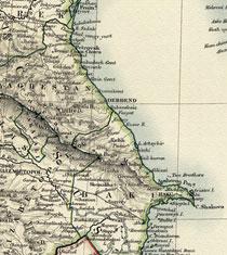 Map of the Caspian Sea coast