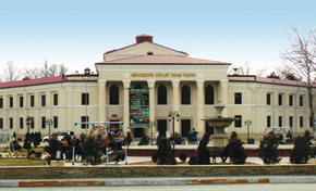 A building constructed by German prisoners, now the State Drama Theatre of Mingachevir