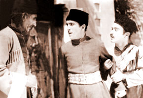 "Scene from the film ""Arshin Mal Alan""; Alekber Huseinzadeh playing Soltan Bey, Rashid Behbudov – Asker, Lutfali Abdullayev – Veli. 1945"