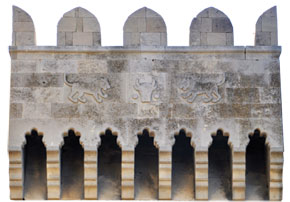 Baku´s coat of arms, relief on the Double Gates