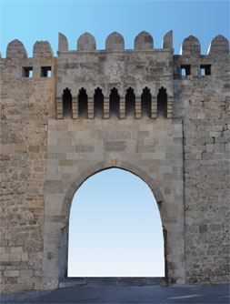 Baku´s coat of arms, relief on the Double Gates, Icheri Sheher