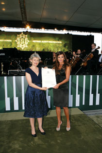 Irina Bokova presents Mehriban Aliyeva with UNESCO's Mozart Gold Medal