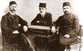 Ismayil bey Gaspirali (left), H.B. Zardabi and Alimardan bey Topchubashov