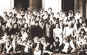 Zardabi and famous philanthropist H.Z. Tagiyev with students at the Girls' School