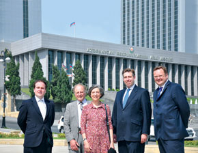 The Conservative Friends of Azerbaijan delegation at the Parliament building (from the left): Christopher Pincher, Viscount Eccles, Baroness Eccles, Graham Brady, Stephen Mosley