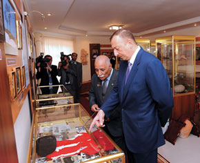 President Ilham Aliyev of Azerbaijan at the Museum of Longevity