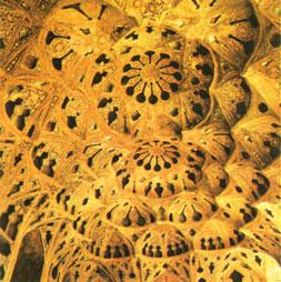 Ceiling, music chamber, Al-Qapi Palace. 16th century. Isfahan (Safavid capital)