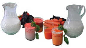 Ayran with tomato and carrot