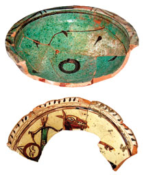 Early glazed pottery. 12th century
