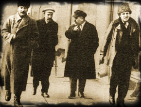 Stalin, A.I.Rykov, G.y.Zinoviev, early 1920. The three men on the right were later repressed by Stalin