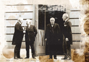 Lloyd George, Vittorio Emanuele Orlando, Georges Clemenceau and Woodrow Wilson at the Paris Peace Conference. 1919